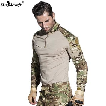 SINAIRSOFT Python Camouflage Male T-shirts US Army Combat Tactical Military  Uniform Multicam Airsoft Paintball With Elbow Pads