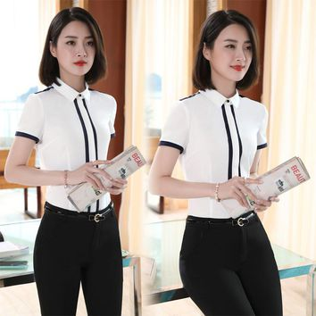 New 2017 Summer Slim Fit Formal Professional Pantsuits With Tops And Pants Female Trousers Sets Pants Suits Ladies Outfits White
