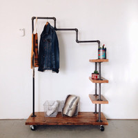 Reclaimed Wood Stair Step Garment Rack