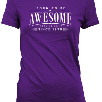 18th Birthday Gifts For Her 18th Birthday Shirt Personalized Birthday T Shirt Born To Be Awesome Since 1998 Birthday Mens Ladies Tee DAT-433