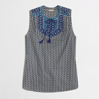FACTORY PETITE PRINTED EMBROIDERED TASSEL TOP