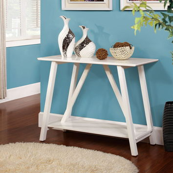 Furniture of america CM-AC6218WH Elgg contemporary style white finish wood hallway entry console table with lower shelf