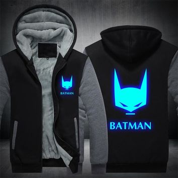 Batman Dark Knight gift Christmas Drop shipping USA SIZE Men's Hoodies Batman Luminous Glowing Coats Winter Warm Fleece Man Jackets Zipper Hoodies, Sweatshirts AT_71_6