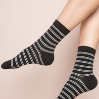 Black and White Thin Double Stripe Socks - Socks - Accessories