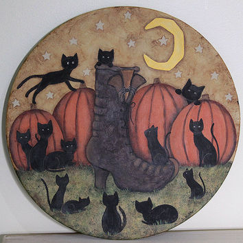 Halloween Folk Art Wood Plate - READY TO SHIP - Primitive Painting -Thirteen Black Kittens Playing around a Witch's Boot in Pumpkin Patch
