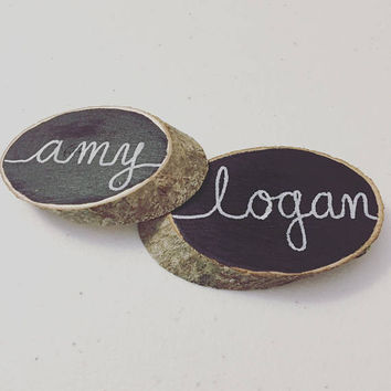 Wood Slice Chalkboard Place Cards // Escort Cards // Favors // Barn Wedding // Shabby Chic