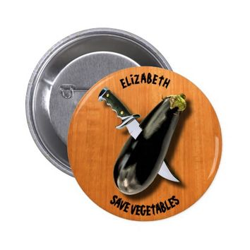 Save Vegetables Eggplant With Military Knife Funny Pinback Button
