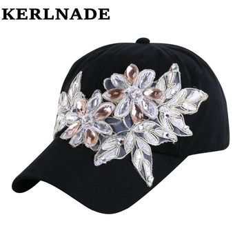 latest design model beauty CROWN shaped crystal beads bling rhinestone girl women luxury brand denim snapback hats baseball caps