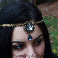 Wiccan Circlet Hair Accessory - Gray Stone and Blackened Gold Chain, Celtic Pagan Wiccan Hair Jewelry, Necklace, Fantasy, headband, headwrap