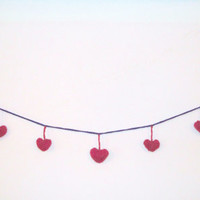 Valentines Heart Garland Hand Knit Heart Garland 6 ft 9 Mauve Puff Hearts Shabby Chic Sweet Home Decoration Gift Bedroom Delicate Rustic