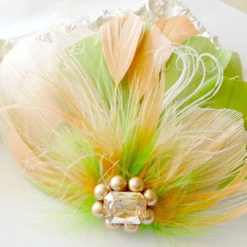 Bridesmaid Feather Hair Accessory, Feather Fascinator, Bridal, Hair PIece, Peacock, Green, Peach, Apricot, Feather,  Prom