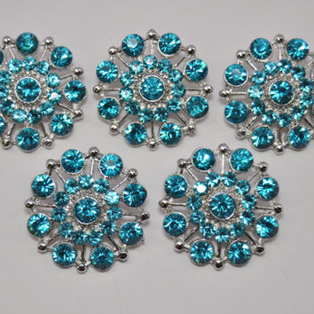 5Pcs Turquoise Rhinestone Button with Shank Good for brooch bouquet crystal bouquet hair pieces Bridal sash Embellishment Button-MB-544