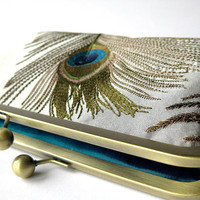 Gray Silver Silk Embroidered Peacock Clutch Bag