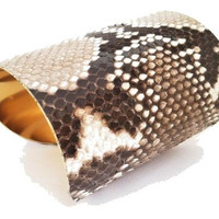 Leather Cuff Bracelet- Python Wide Cuff -by LEATHER WRAPS