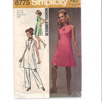 Simplicity 8775 Pattern for Misses' Dress, Tunic, Pants, Designer Fashion, Size 12, From 1970, Vintage Dress Pattern, Home Sew Pattern