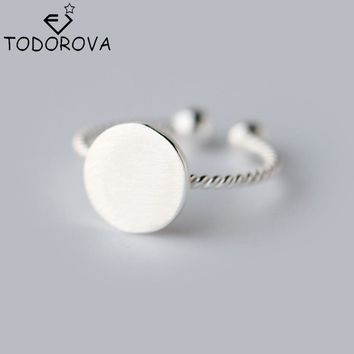 Todorova 925 Sterling Silver Jewelry Twist Roped Plain Round Toe Ring finger Ring Knuckle Adjustable Rings for Women