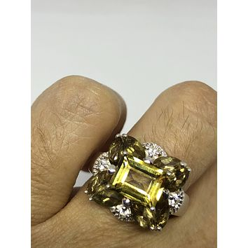 Vintage Gothic Golden Citrine 925 Sterling Silver Ring