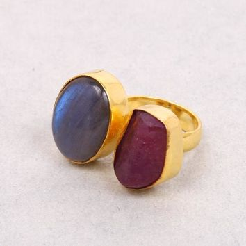Handmade Ring, Raw Ruby Ring, 18K Gold Plated Ring, Brass Ring, Natural Stone Ring, Double Stone Ring, Labradorite Ring, Statement Ring