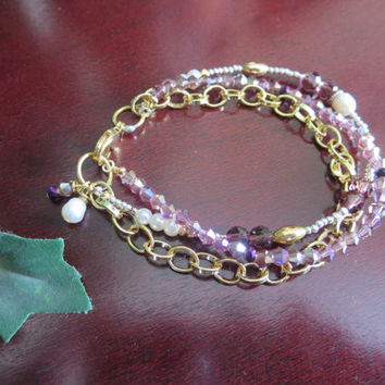 Bracelet Triple Strand Fresh Water Pearl Gold Chain Faceted Purple beads Silver Beads with charms Boho Bohemian Chic Women Girls Jewelry