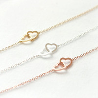 Two Open Heart Bracelet / Choose your color / gold by laonato