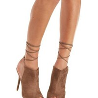 Taupe Lace-Up Peep Toe Heels by Charlotte Russe