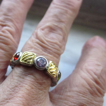 Silver and gold eternity band multi gemstone band garnet gemstone band peridot band amethyst band wedding promise gold bands