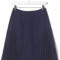 Pleated Panel Skirt by Boutique - Navy Blue