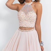 Short Two Piece Beaded Party Dress by Blush