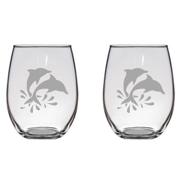Jumping Dolphins Engraved Glasses, Flutes, Pint Glass, Mason Jar Free Personalization