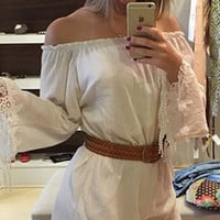 White Off-Shoulder Belted Romper