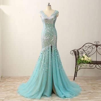 Real Photos Mermaid Crystal Prom Dresses Floor Length Evening Gowns Glittering High Split v neck Cap sleeve