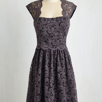 Mid-length Cap Sleeves A-line Refined the Way Dress by ModCloth