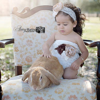 Ivory, Lace, & Burlap, Romper, Sash, and Headband- Ivory, beige, brown, lace, 1st birthday, baby, Girl, Newborn, Infant, Toddler