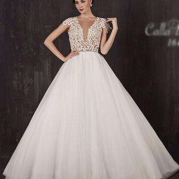 Elise by Calla Blanche 16108 Lace Ball Gown Wedding Dress