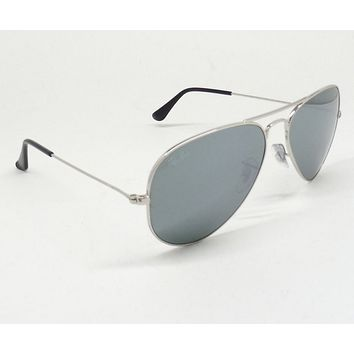 Ray Ban 3025 W3277 Sunglasses AVIATOR Silver/Silver Mirror ITALY MEN WOMEN B6/25