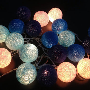 Cotton ball string lights for home decor,party decor,wedding patio,20 pieces indoor string lights bedroom fairy lights,blue tone