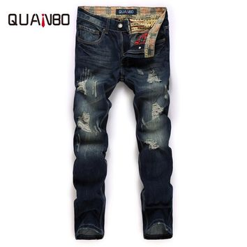 QUANBO Men Jeans Casual Denim Pants 2017  New Arrival Fashion Patch Hole Distressed Jeans Youth Retro Nostalgia Straight Jeans