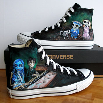 a322856898bc Custom Hand Painted Converse Shoes Corpse from BeressyArt on Etsy