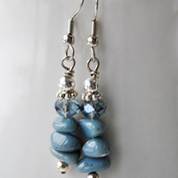 Lake Michigan Leland Blue stone nugget earrings with blue crystals