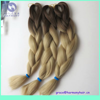 "FREE SHIPPING (5packs/lot) 24"" 100g synthetic Kanekalon ombre blonde color braiding hair brown+24# blonde color"