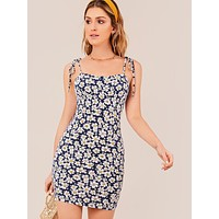 SHEIN Knot Strap Ruched Bust Daisy Floral Slip Dress
