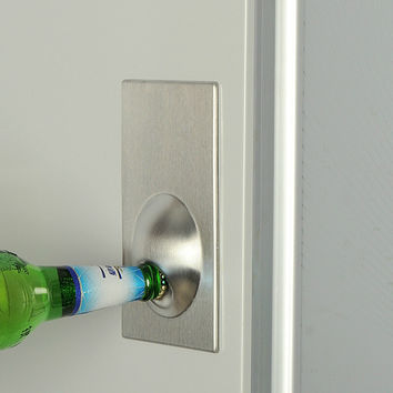 Free Shipping 1Piece Fridge Magnet Bottle Opener Stainless Steel Refrigerator Holder Beer Opener