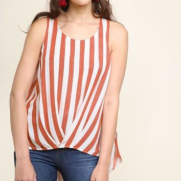 Carrot Striped Sleeveless Twist Front Top
