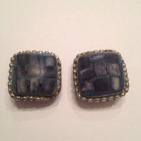 Vintage Blue Stone Checked Inlay Silver  Earrings