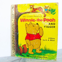 Little Golden Book Winnie The Pooh and Tigger Vintage Children's Book A A Milne Walt Disney 1976 No D121