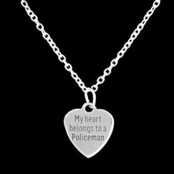 My Heart Belongs To A Policeman Police Officer Wife Girlfriend Gift Necklace