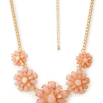 FOREVER 21 Layered Faux Stone Necklace Pink/Gold One