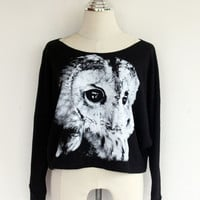 Owl Sweatshirt - Printed on Pullover Oversize-style Sweater