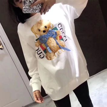 Gucci Women All-match Casual Cute Letter Cartoon Teddy Bear Pattern Print Long Sleeve Sweater Tops