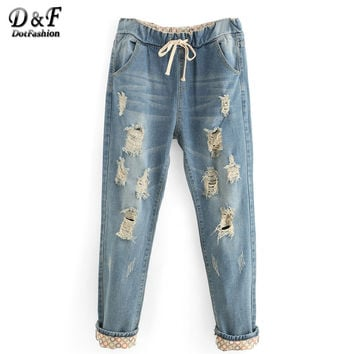 Dotfashion Summer Women's Trousers Casual New Arrival Vogue Denim Pants Ripped Mid Waist Drawstring Waist Boyfriend Loose Jeans